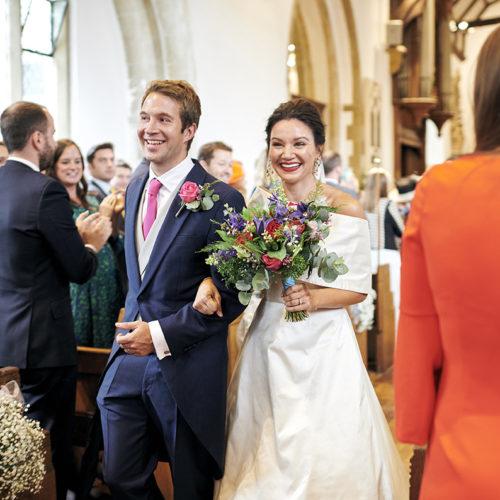 bride and groom looking very happy just married kent wedding UK