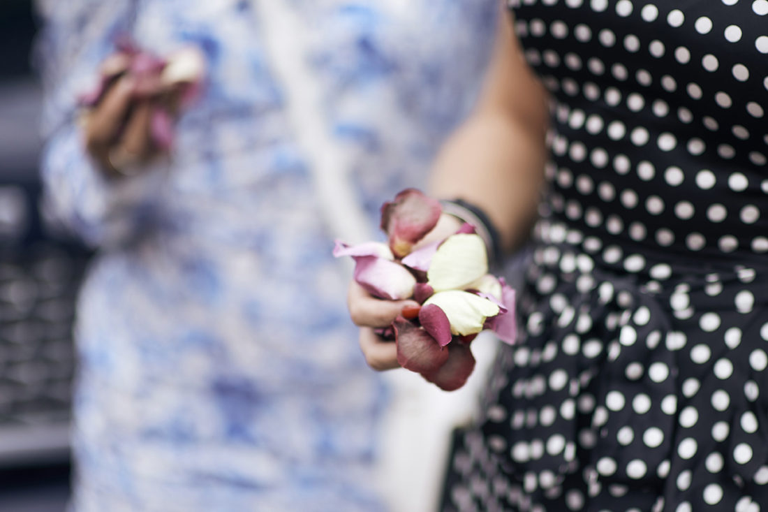 a handful of flower confetti kent wedding